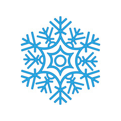 Snowflake winter isolated on white background. Blue icon silhouette. Vector illustration for Christmas design. New Year sign. Symbol of celebration.