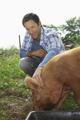 Smiling young man patting pig in sty against the sky