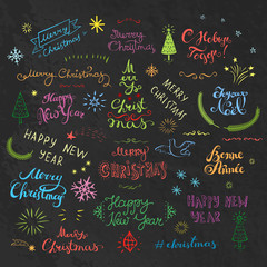 Merry Christmas and New Year creative typography collection at different languages.