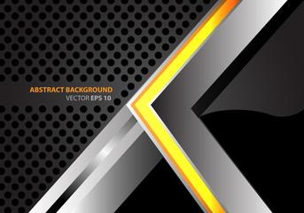 Abstract yellow arrow metal on gray circle mesh modern design background vector illustration.