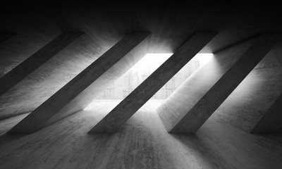 3 d dark concrete interior with diagonal columns