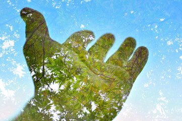 Nature ecology background, multiple exposure hand and tree, Planet Earth concept