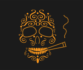 Skull vector background with cigarette for fashion design, patterns, tattoos