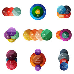 Set of round infographic banners with options