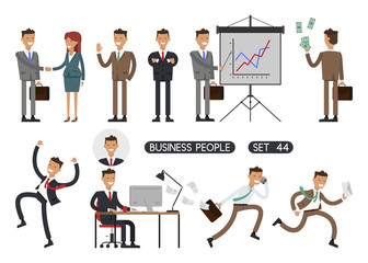 Working people on white background. Vector illustration. Different movements. Create a scene. Business people set 44.