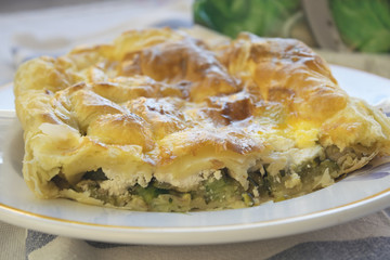 savoury cake with filling of vegetables