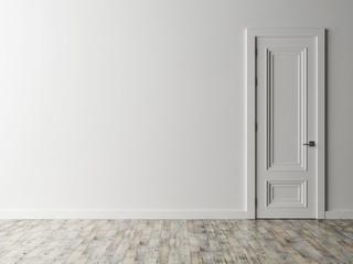 White door on white wall, 3d illustration