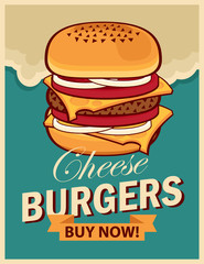 vector banner with cheeseburger on retro style