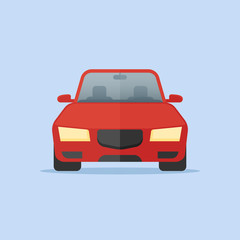 Red car isolated on blue background. Front view. Automobile vector illustration. Flat style icon.