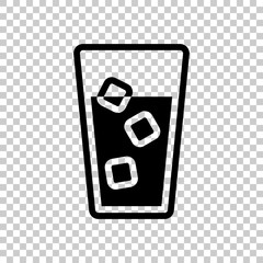 glass of water with ice cubes icon. Black icon on transparent ba