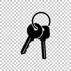 keys on the ring icon. Black icon on transparent background.