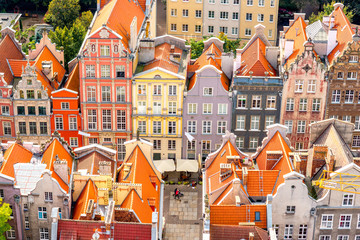 Aerial cityscape view on the old town with beautiful coorful buildings in Gdansk, Poland Wall mural