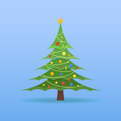 Decorated Christmas tree with colorful baubles and star on the top on blue background. Flat style vector illustration.