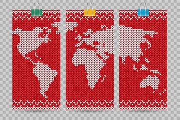 Vector world map business cards set lovely knitting style