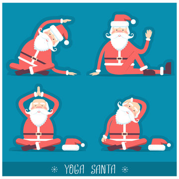 Santa claus doing yoga isolated.Vector christmas card illustrati