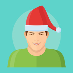 Smiling man in christmas santa hat flat style icon. Male character. Man face vector illustration.