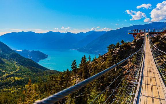 Squamish, BC, Canada - Sept. 22, 2016:  The Sea to Sky Gondola ride, the Summit Viewing Deck and Sky Pilot Suspension Bridge are exhilirating experiences in the shadow of Sky Pilot Mountain peaks.