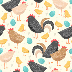 Seamless pattern with chickens and a rooster