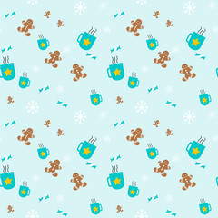 Sweet, gingerbread and hot mugs pattern