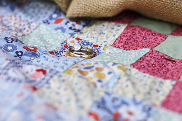 Wedding Rings on a Vintage Quilt