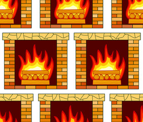 Brick fireplace pattern