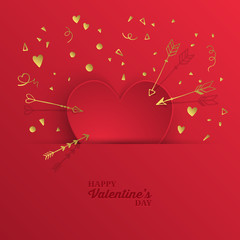 Valentine's day abstract modern background with paper heart shap