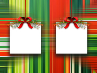 Two square blank frames hanged by red Christmas ribbons against multicolored abstract out of focus illustration background
