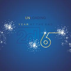 The End 2016 unloading spark firework gold blue background