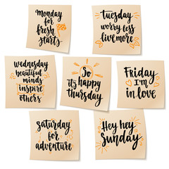 Week days motivation quotes.
