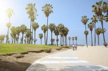 People enjoying a sunny day on the beach of Venice, California