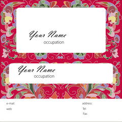 Business card with flowers pattern on a red background