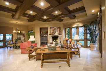 View of a spacious and luxury living room at home