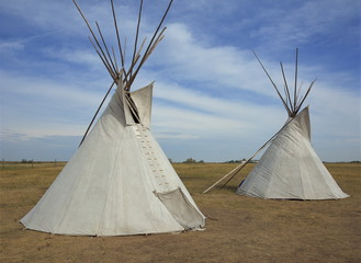 Tepees in the Wanuskewin Heritage Park in Saskatchewan, Canada, North America