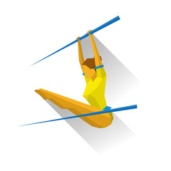 Artistic Gymnastics - Uneven bars. Girl  doing exercises, isolated on white background with shadows. International sport games infographic. Flat style vector clip art.