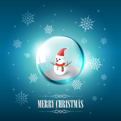 Merry Christmas with Snowman in glass sphere bubble and snowflake on blue background, vector illustration