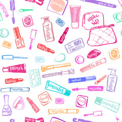 Colorful makeup cosmetic pattern with lettering.