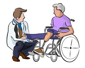 doctor and patient  with prosthesis foot in wheelchair