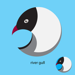 logo design in a circle. stylized river gull. blue background
