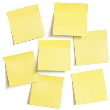 Set of different yellow sticky note papers, ready for your message.