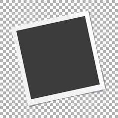 Photo frame with shadow on isolate background with a slope to the left, vector template for your stylish photos or images, EPS10