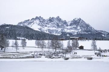 Wilder Kaiser covered with snow, Going am Wilden Kaiser