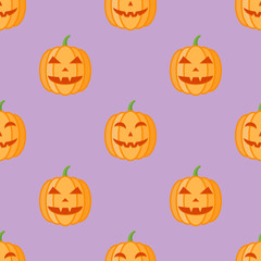 Seamless pattern with halloween pumpkins on purple background. Vector texture.