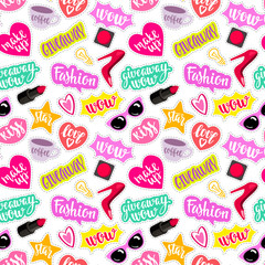 Seamless pattern fashion elements in patch style.