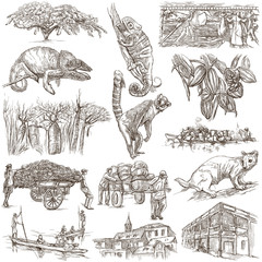 Madagascar - Pictures of life. Travel. Full sized hand drawings,