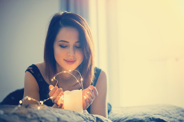 woman with fairy lights