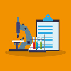Microscope and checklist icon. laboratory science chemistry and research theme. Colorful design. Vector illustration