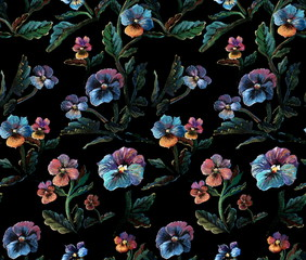 Seamless pattern with viola flowers, leaves and stems