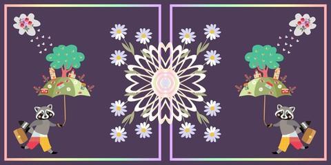 Beautiful card with cute raccoon, umbrella, magic town and mandala