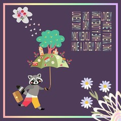Have a lovely day! Beautiful card with cute raccoon, umbrella and magic town - 1.