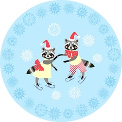 Decorative plate with cute raccoons on the ice skating.